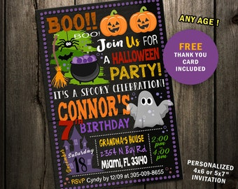 Halloween Birthday Invitation Costume Party Invite Printable Digital File Witch Hunted House Pumpkin Boy Girl Haunted