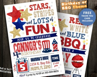 4th Of July Birthday Invitation Party Boy Girl Printable Digital File Fourth Four 4