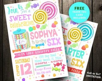 Candy Invitation Etsy