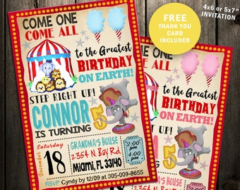 Carnival Ticket Invitation Birthday Party Pink Blue Circus Printable Invites Elephant Vintage Digital File