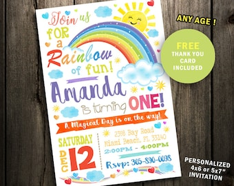 Rainbow Invitation Birthday Party Girl Digital File Invite Baby Shower First 1st One Colorful Printable Watercolor Magical