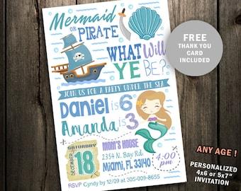 Mermaid pirate party etsy mermaid pirate birthday invitation mermaid and pirate party invite under the sea pool teal pink purple printable digital file joint filmwisefo