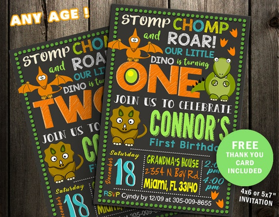 Dinosaur Birthday Invitation Party First 1st Second 2nd