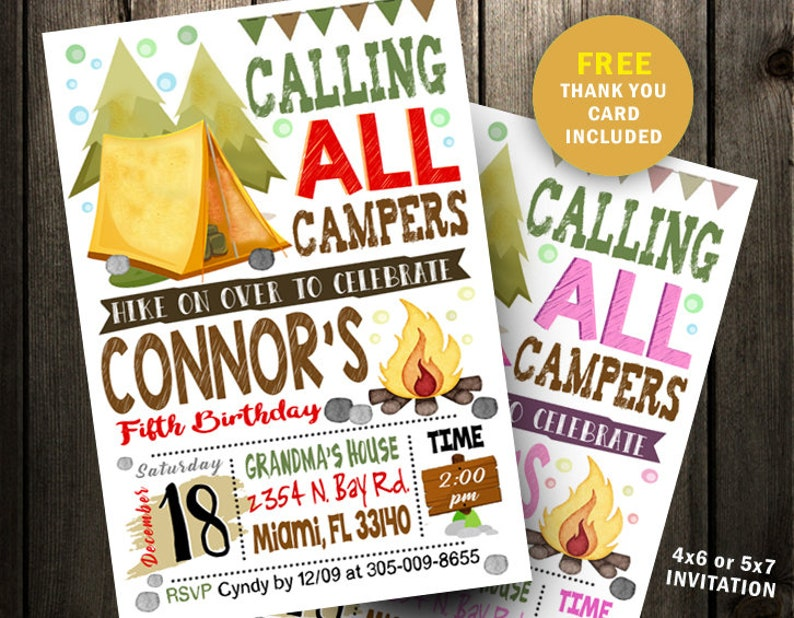 image regarding Free Printable Camping Birthday Party Invitations called Tenting Birthday Occasion invitation Card, Sleepover Birthday Get together, Campfire Invitation boy lady instantaneous obtain print printable joyful camper
