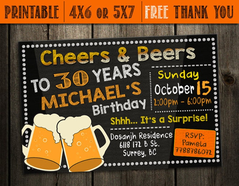 Surprise 30th Birthday Invitation For Men Printable Party