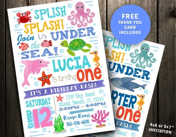 Under Sea Birthday Invitation The Ocean