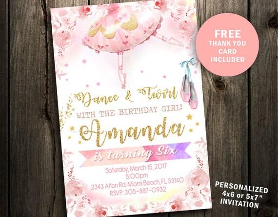 Ballerina Birthday Invitation Tutu