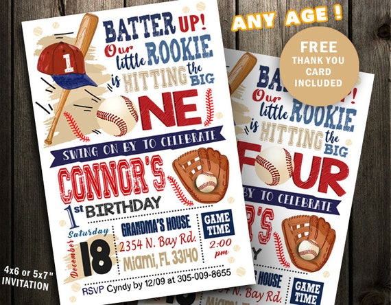 Baseball Birthday Invitation First Party Invites 1st Printable Ticket Sports Vintage Little Slugger Rookie Of The Year