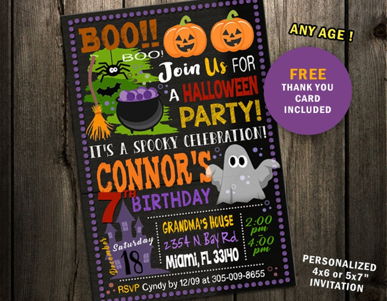 photo about Printable Halloween Birthday Invitations called HALLOWEEN Birthday Invitation printable, halloween invitation, Little ones Halloween Get together Invitation, Chalk, Halloween Birthday Bash, Invite card