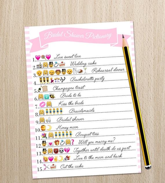 Bridal Shower Game Wedding Emoji Pictionary Printable Etsy