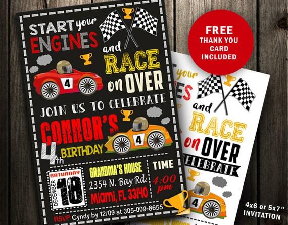 race car birthday invitations race car invitation race car etsy
