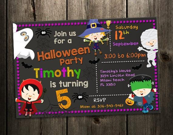 kids halloween invitations kids birthday party invitations etsy