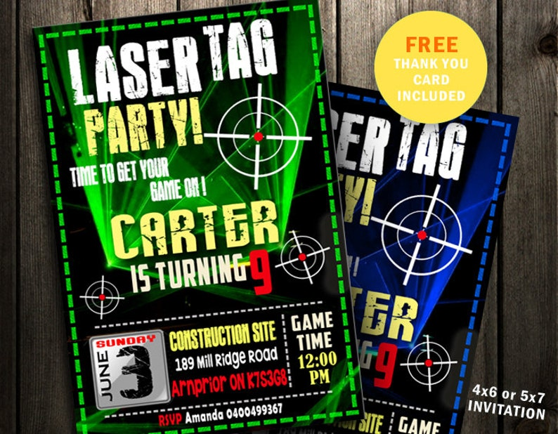 photo relating to Laser Tag Invitations Free Printable known as Laser Tag Invitation Laser Overcome Birthday Celebration Evening Neon Invite Video game Upon Lazer Tag Card Gun shine eco-friendly blue printable fast obtain