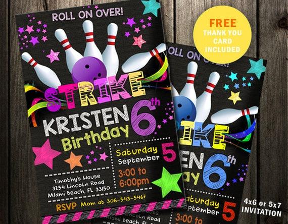 bowling birthday invitation party invites glow in the dark etsy