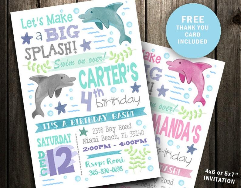 Dolphin Birthday Invitation Party Invite Ocean Girl Printable