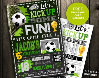 Soccer Invitation - Soccer Birthday Invitation - Soccer Party chalkboard printable sports ball girl boy invite digital file Instant Download