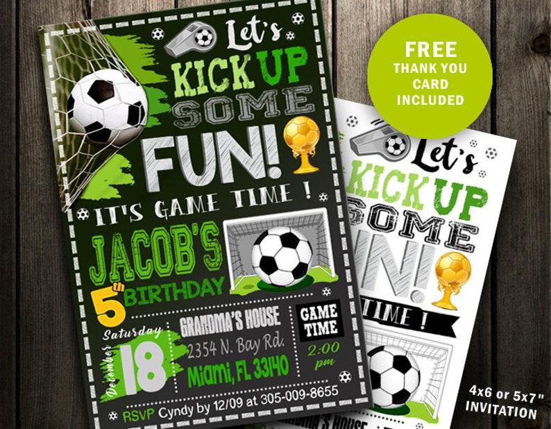 Soccer Invitation Soccer Birthday Invitation Soccer Party Etsy