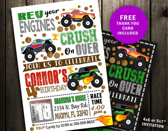 graphic relating to Monster Truck Birthday Invitations Free Printable identified as Monster Truck Invitation, Monster Truck Birthday Invitation, Truck Birthday Celebration Invitation, chalkboard printable electronic document print