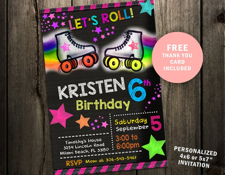 Roller Skate Invitation Birthday Party Invites Custom Etsy