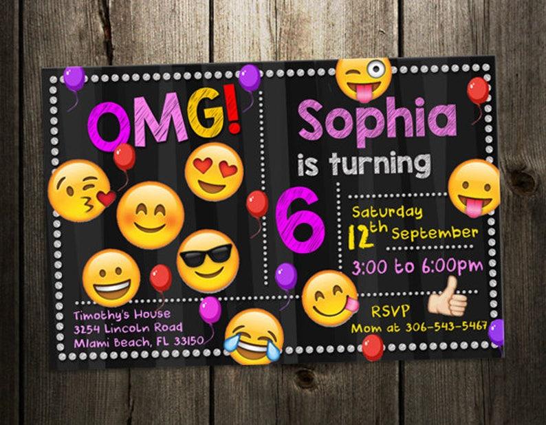 227a596f6f1a4 Emoji invitation birthday party invite custom digital file