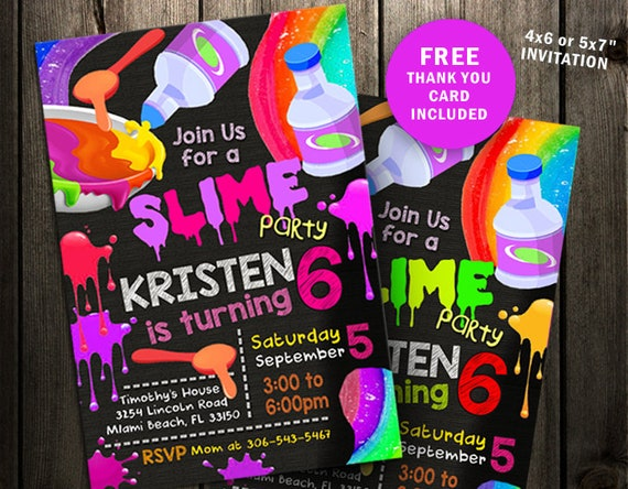Slime Party Invitation Birthday