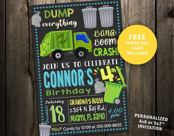Garbage Truck Birthday Party Invitations Invitation Trash Recycle Chalkboard Invites