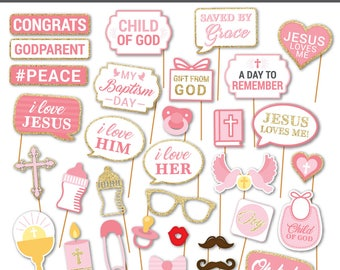 35 Rustic Christening Props photobooth props for christening church photo booth props diy baptism ideas rustic baptism photo props