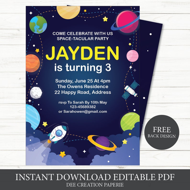 Outer Space Kids Birthday Invitations Solar System