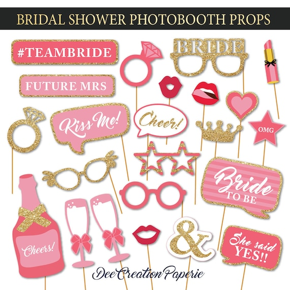 Printable Bridal Shower Photobooth Props Wedding Photo Booth Etsy
