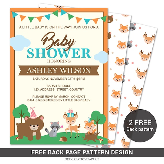 picture about Free Printable Woodland Baby Shower Invitations titled PRINTABLE Woodland Youngster Shower Invitation Forest Pets Woodland Little one Shower Fox, Deer, Go through,Rac Quick down load