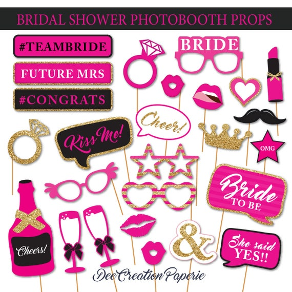 Printable Hot Pink Bridal Shower Photobooth Props Wedding Etsy