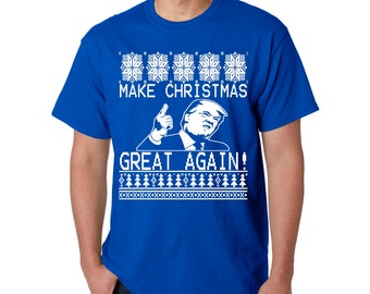 Make Christmas Great Again TRUMP T-Shirt President Donald America XMAS Gift 2020 Ugly Sweater Design Free Shipping