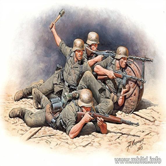Eastern Front 1//35 Scale WWII era Master Box Models German Elite Infantry 5 Figures Set