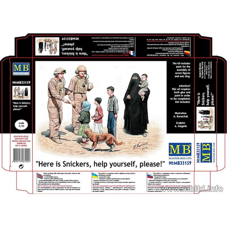 plastic kit Master Box 35159 US Tankmen /& Civilian Scale figures 135 Here is Snickers Help yourself