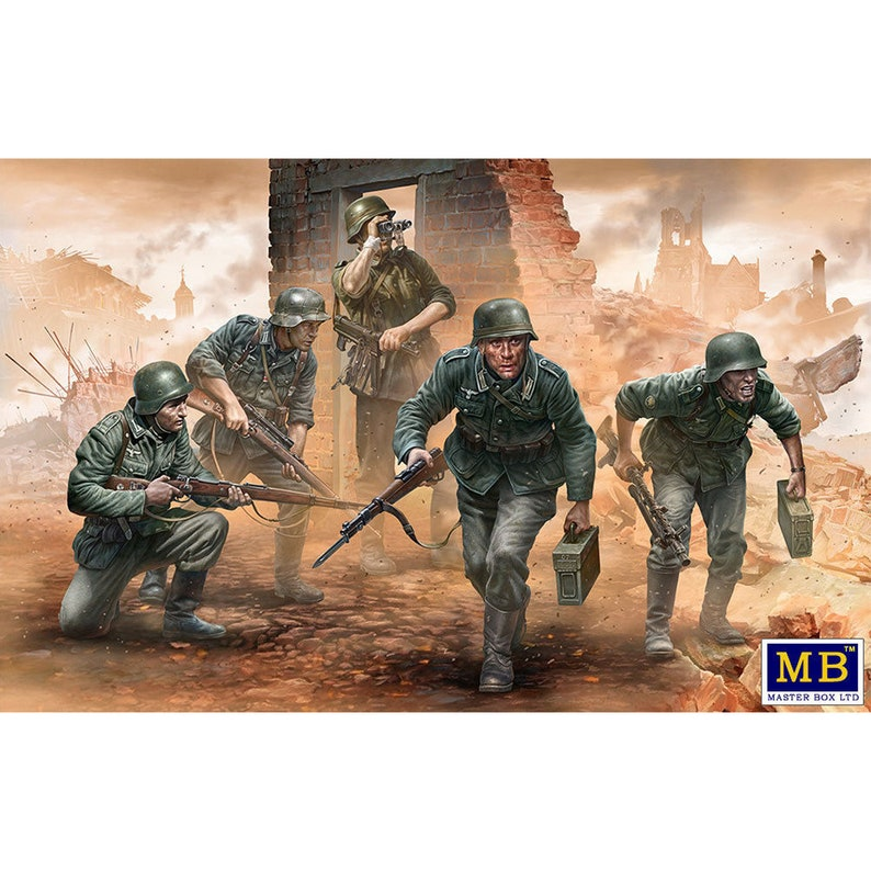 Scale model kit German Infantry on the Move Under Fire WWII Era Early plastic kit Master Box 35177