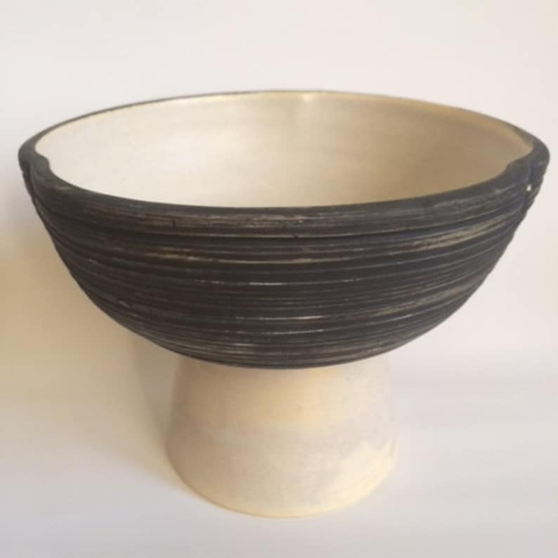 matte black and raw stoneware Fruit bowl for 2