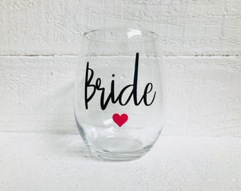 Bridal wine glasses / Bride / Maid of Honor / Bridesmaid / wedding / bridal party gift / bride to be / personalize/ stemless wine glass