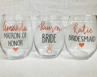 Bridal party wine glasses / Bride / Maid of Honor / Bridesmaid / wedding / bridal party / personalize/ stemless/ bridesmaid gifts