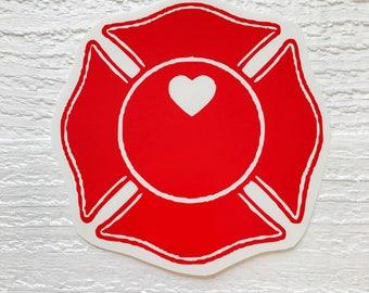 Maltese Cross heart decal / Firefighter decal / Firefighter wife decal / Firefighter girlfriend / car decal / Yeti decal / Maltese Cross