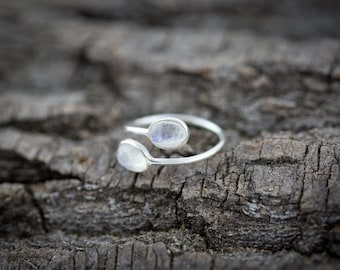 Open Adjustable Sterling Silver Ring with two Rainbow Moonstone Gems - Handmade Ring