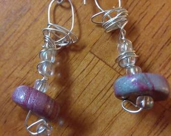 Polymer clay mokume gane beaded earrings