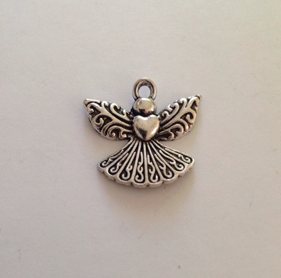 12pcs-2 sided-Angel Wing spacer beads,silver tone spacer beads