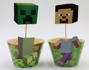 12 set Minecraft inspired  cupcake wrappers and toppers Minecraft Party Decoration