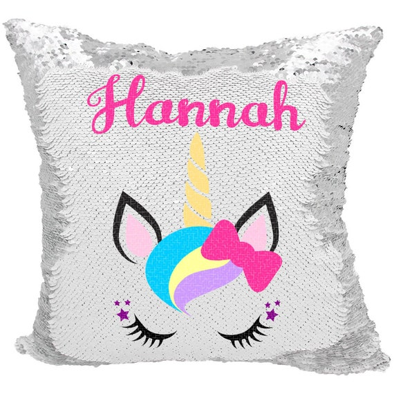 Unicorn Sequin Pillow Personalized Bow Unicorn Mermaid Etsy