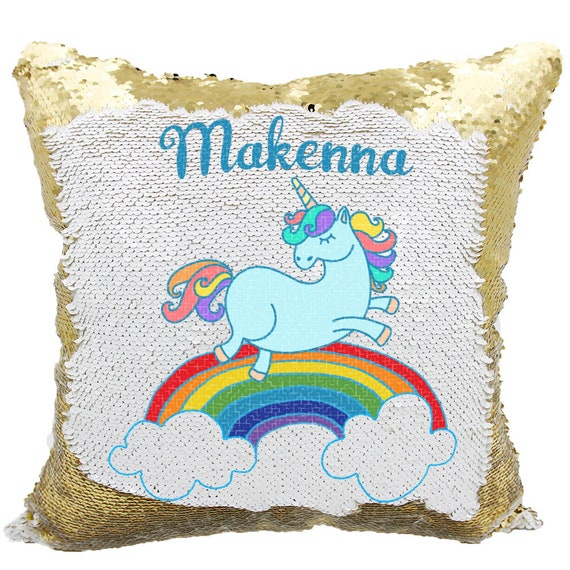 Rainbow Unicorn Sequin Pillow Personalized Rainbow Unicorn Etsy