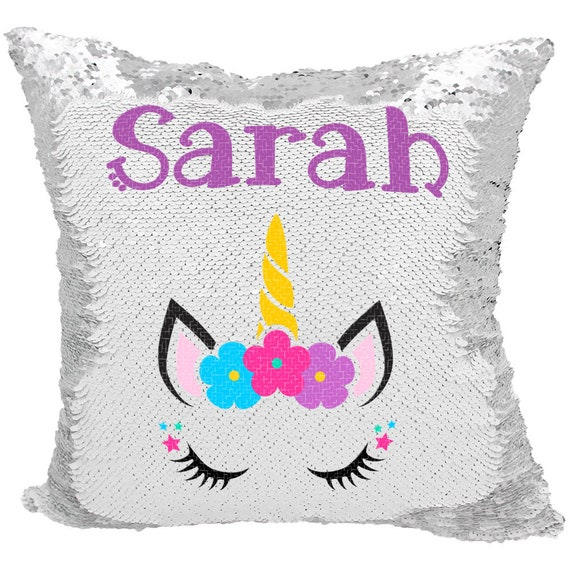 Unicorn Sequin Pillow Personalized Flora Unicorn Mermaid Etsy
