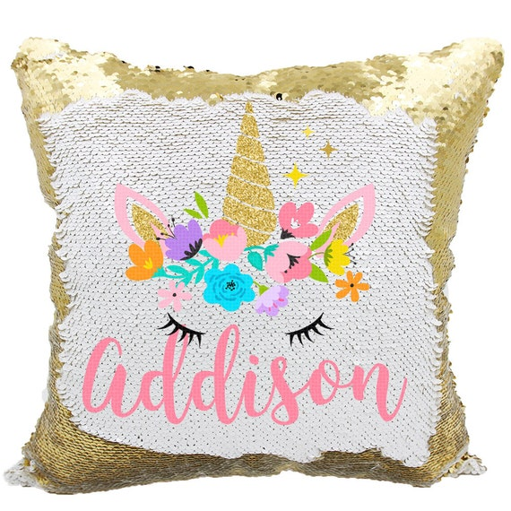 Unicorn Sequin Pillow Unicorn Pillow Personalized Unicorn Etsy