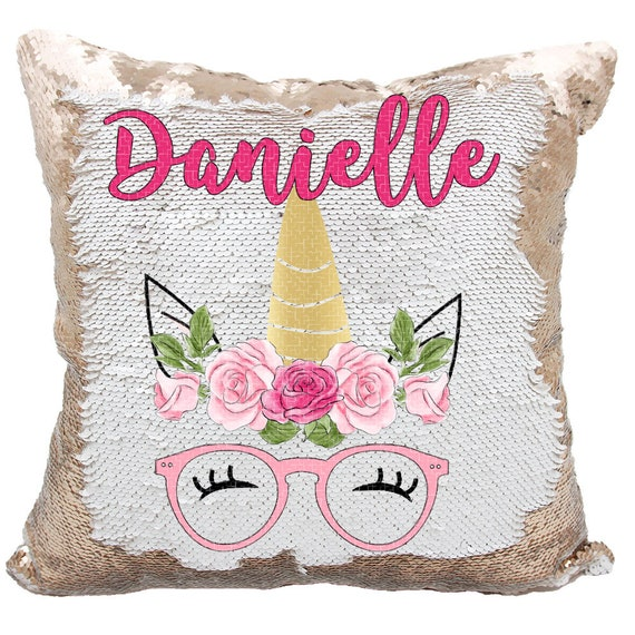 Unicorn Sequin Pillow Personalized Hipster Glasses Unicorn Etsy