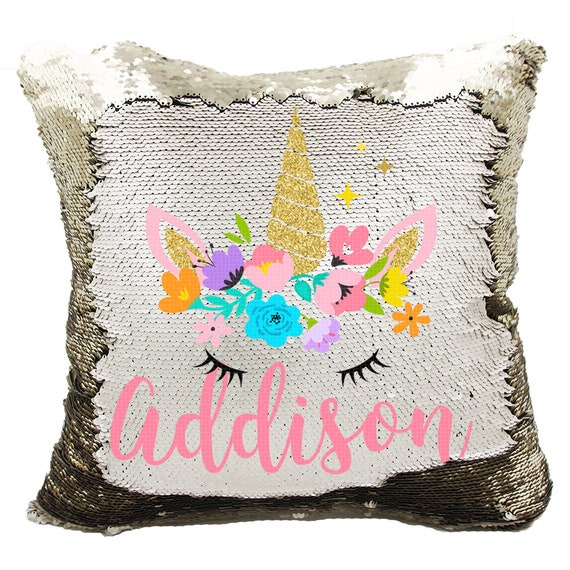 Birthday Unicorn Balloons Rainbow Reversible Mermaid Magic Sequins Pillow Cover Case Personalized Name Custom Hidden Message w Stuffing