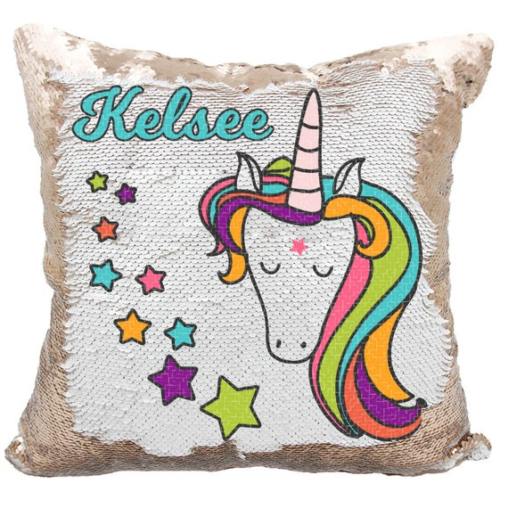 Unicorn Stars Sequin Pillow Personalized Unicorn Stars Etsy
